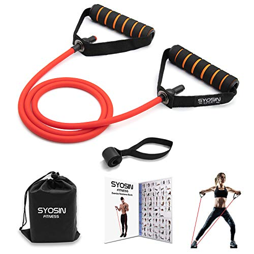 SYOSIN Bandas Elasticas, Bandas de Resistencia Látex con Manijas, Ideal for Physical Therapy, Strength Training, Muscle Toning, Bolsa de Almacenamiento de Anclaje de Puerta incluida