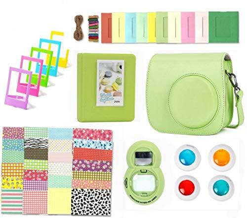 Theoutlettablet® accessoireset voor Instax Mini 9/8 / 8 +, incl. beschermhoes, album, selfie-lens, filter, frame voor foto's, fotolijsten, randen/stickers (groen)