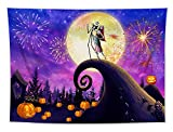 LB Nightmare Before Christmas Tapestry Halloween Pumpkin Jack-o-Lantern Tapestry Moon Night Firework Spooky Forest Tapestry Wall Hanging for Bedroom Living Room Dorm Party Decorations 60x50 inch