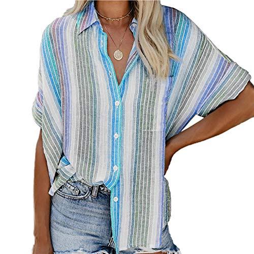 Syrads damskie topy w paski z krótkim rękawem guziki w dół bluzki letnie na co dzień szyfon niebieski XL koszule