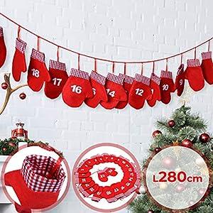 Jago Stoff Adventskalender Weihnachtskalender Kalender Girlande Handschuh – 280cm – mit 24 Filz-Handschuhen
