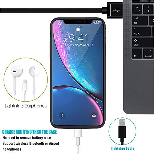 Battery Case for iPhone XR, 6500mAh Slim Rechargeable Power Charging Case for iPhone XR (6.1 inch) Extended Battery Pack Protective Charger Case,Compatible with Wire Headphones (Black)