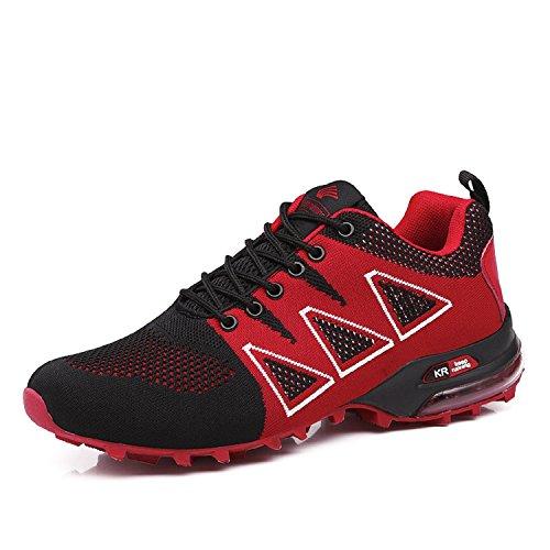LILY999 Uomo Scarpe da Trekking Leggere Scarpe da Escursionismo Arrampicata All'aperto Sneakers Scarpe da Corsa (44 EU, Rosso)
