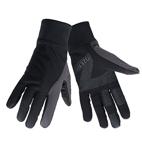 OZERO Touch Screen Gloves for Women Winter Warm Glove for Phone Texting with Non-slip Silica Gel and Thermal Cotton - Windproof and Waterproof for Hiking, Running, Cycling, Driving - Black (Medium)