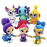 Fisher-Price Nickelodeon Shimmer & Shine - Plush Set of Shimmer, Shine, Tala, Zeta, Nahal, Nazboo - 6 Soft & Huggable Dolls 8 inch