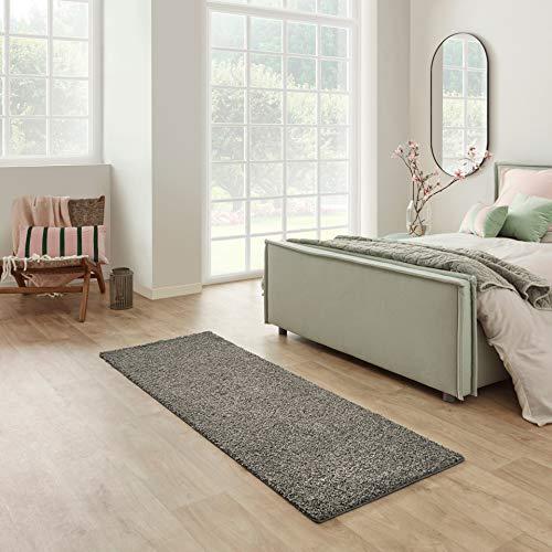 Carpet Studio Devotion Hochflor Teppich Läufer 57x150cm, Weicher Shaggy Flur Teppich Läufer, Schlaffzimmer, Wohnzimmer & Küche, Pflegeleicht, Geruchsneutral - Dunkelgrau