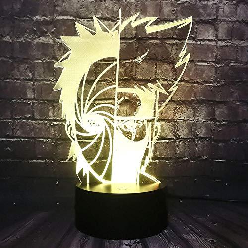 Yvvaceo® 3D Illusion Lampe Weihnachtsgeschenk Nachtlicht Neben Tischlampe, Anime Charakter Ninja 16 Farben Auto Ändern Touch Schalter Schreibtisch Dekoration Lampen Geburtstagsgeschenk mit Fernbedienu