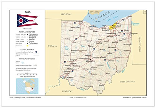 13x19 Ohio General Reference Wall Map - Anchor Maps USA Foundational Series - Cities, Roads, Physical Features, and Topography [Rolled]