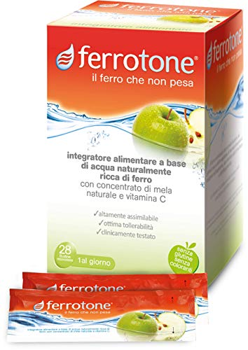 Ferrotone Integratore Alimentare a Base di Acqua Ricca di Ferro - Pacco da 28 bustine x 25 ml