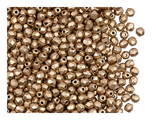 100pcs Tschechische Facettierten Glasperlen Fire-Polished Rund 3 mm Bronze Pale Gold Matte