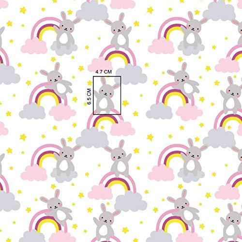 Pingianer 11,99€/m 100x160cm Hase 100% Baumwolle Baumwollstoff Kinder Meterware Handwerken Nähen Stoff (Hase Regenbogen Rosa)