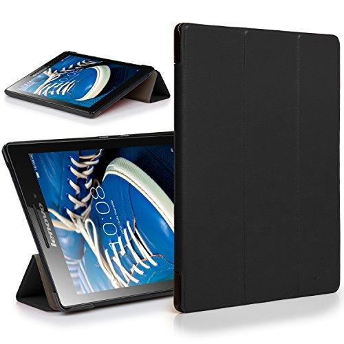 Forefront Cases® Lenovo Tab 2 A7-20 17,8 cm (7 Zoll IPS) Tablet Hülle Schutzhülle Tasche Smart Case Cover Stand - R&um-Geräteschutz & intelligente Auto Schlaf/Wach Funktion (SCHWARZ)