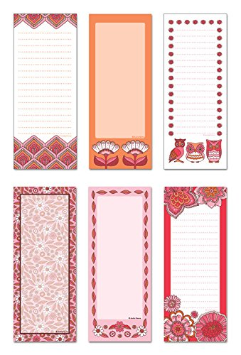 Note Card Cafe 6-Pack Magnetic Notepads | 50 Sheets per Pack | Fields of Joy Designs | 3.5 x 9 in | Memo Pad for Fridge, Planner, Notes, to-Do List, Grocery Shopping List, Recipes, School Reminders