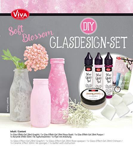 Viva Decor Glas-Design Set (Blossom) – Satine Mattglas Glasmalfarbe mit Frost-Effekt & Keramik Grundierung zur Gestaltung von Teller Tassen & anderem Geschirr & Porzellan