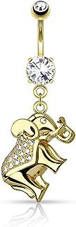 PSUM Unisexo Piercing En El Ombligo Elefante Acero Inoxidable Latón Circonita Cristal Claro 1.6mm x 10mm HBJ-N16910
