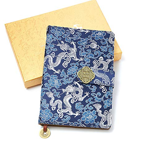 Scuola Notebook Diario Diario Diario Cancelleria Stile Cinese Intagliato Notebook Vintage Drago Blu Broccato Notepad Classico Business Regalo Notebook
