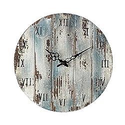 AR Lighting Wooden Roman Numeral Outdoor Wall Clock.