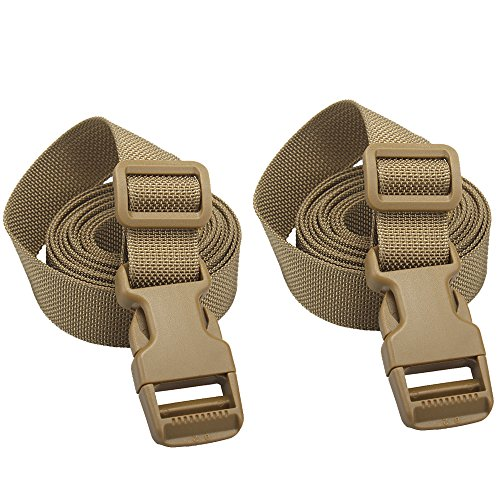 XTACER (Set of 2 Backpack Accessory Strap Luggage Straps Cover Strap Sleeping Bag Strap with Buckle (TAN - Release Buckle Straps)