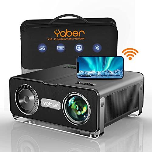 Proyector WiFi Bluetooth, 8500 Lúmenes YABER Proyector Soporte 4K Full HD 1080P Nativo Ajuste Digital 4P/4D Función de Zoom Proyector Cine en Casa para PPT, PS4, TV Stick, etc