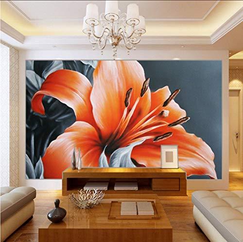 Hwhz Fototapete Schöne Parfüm Lilie Ölgemälde Hintergrundbild Wohnzimmer Dekoration Benutzerdefinierte Wandbilder-350X250Cm