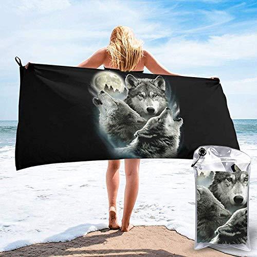 Toalla de baño Three Wolf Moon, Toalla de Gimnasio, Toalla de Playa, súper Absorbente, Microfibra de Secado rápido Suave, Liviana, como se Muestra, 27.5 'x55