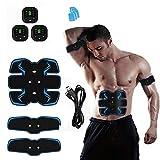 GXYNB Estimulador de músculos Abdominales, Equipo de Ejercicio de Entrenamiento físico EMS para Entrenamiento en casa, Dispositivo de Ejercicio con 10 Almohadillas de Gel de Repuesto