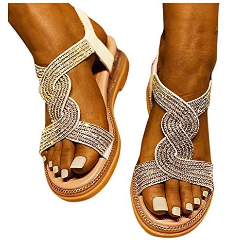 BIBOKAOKE Sandales d'été pour femme - Sandales plates - Élastique - Strass - Chaussures de plage bohémiennes - Chaussures d'été - Chaussures de loisirs - Sandales de plage