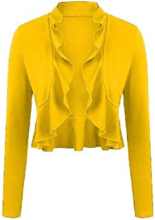 Womens Fashion Ruffled Cardigan Long Sleeve Open Front Jacket Draped Ruffles Overcoat