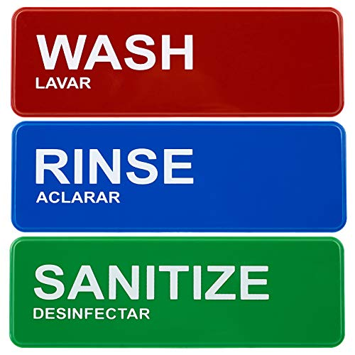 Wash, Rinse, Sanitize Signs 8.5'x2.75' (3 Signs)