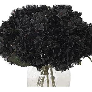 kimura's cabin black flowers vintage artificial silk hydrangea flowers bouquets faux hydrangea stems 5 flower head for home wedding halloween party table core decoration (black, pack of 5) silk flower arrangements