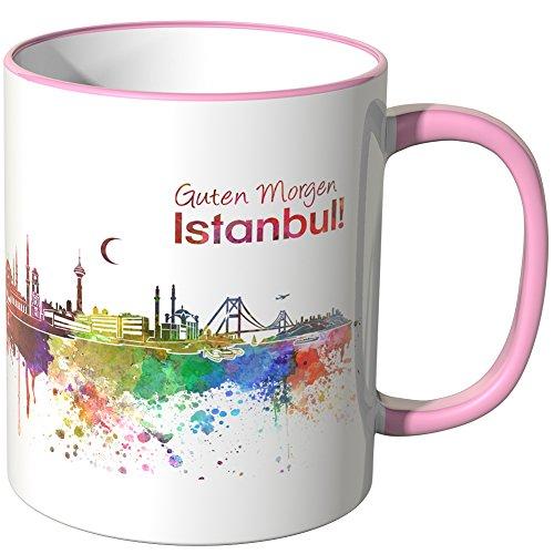 WANDKINGS® Tasse, Schriftzug Guten Morgen Istanbul! mit Skyline - ROSA