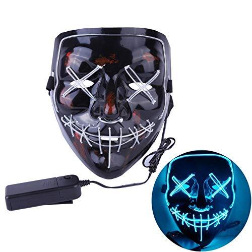 XWYWP Mscara de Halloween de nen LED Mscara de fiesta de disfraces de purga mscaras de miedo mscara de terror mscara de disfraz led DJ fiesta de luz mscara de mscara de brillo B