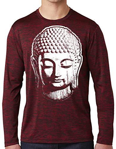 Mens Big Buddha Head Long Sleeve Tee Shirt - Deep Red/Black Electric, 3XL