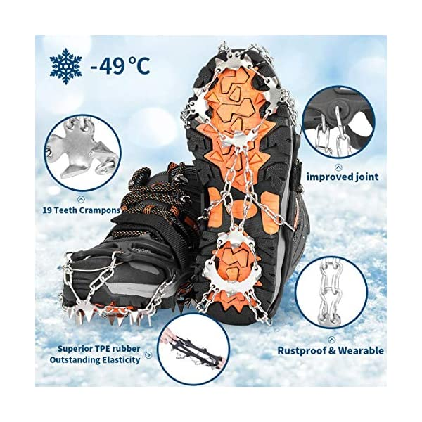 AGPTEK 19 Puntas Crampones Antideslizante, Crampones Nieve Hielo de Acero Inoxidable con Cinta Adhesiva y Bolsas, para… 1