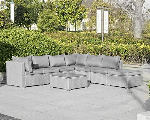 Enjoy Fit Gartenmöbel Rattan Polyrattan Lounge Sitzgruppe Garnitur aus Sessel Sofa Hocker Tisch mit Glas/Modell: Menorca