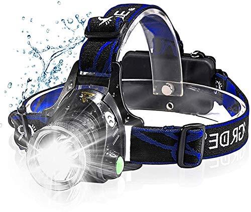 zknen® Stirnlampe LED, 6400mAh USB Wiederaufladbare Stirnlampe Kopflampe Leichtgewichts für Laufen Jogging Lila Reparieren mit 2 Stück 18650 Akkus