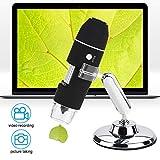Drahtloses USB Digitalmikroskop, 3 in 1 1000X HD Lupenvergrößerungs Endoskopkamera mit Metallstativ mit Typ C/Micro USB/USB Schnittstelle zur Inspektion
