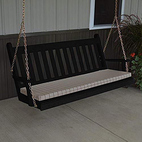 A & L Furniture Yellow Pine Traditional English Porch Swing, 6', Black