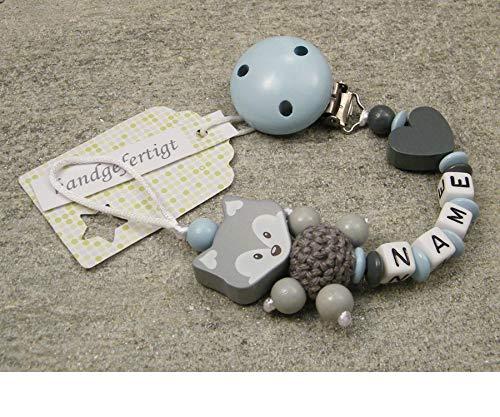 Baby SCHNULLERKETTE mit NAMEN - Schnullerhalter mit Wunschnamen - Jungen Motiv Fuchs und Herz in babyblau, grau