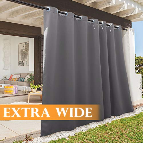 RYB HOME Outdoor Curtain 100 - Outdoor Neighbor Privacy Curtains Insulated Drape for Cabana/Garden Lawn/Outside Dining Area/Party, W 100 x L 95, 1 Panel, Grey