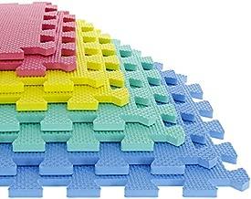 Foam Mat Floor Tiles, Interlocking EVA Foam Padding by Stalwart – Soft Flooring for Exercising, Yoga, Camping, Kids, Babies, Playroom – 8 Piece Set, Multi-Color, 12.4
