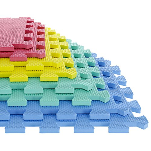 "Foam Mat Floor Tiles, Interlocking EVA Foam Padding by Stalwart – Soft Flooring for Exercising, Yoga, Camping, Kids, Babies, Playroom – 8 Piece Set, Multi-Color, 12.4"" X 12.4"" X 0.375"" (80-32321)"