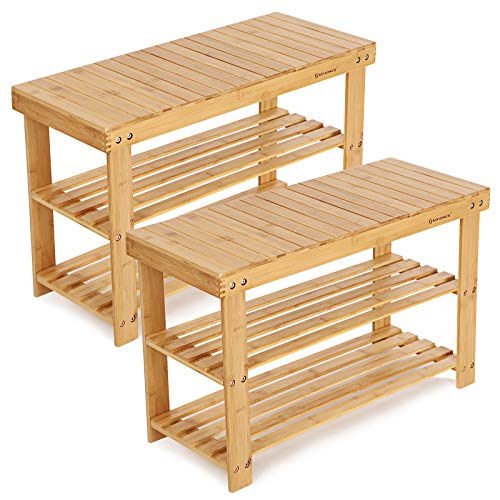 SONGMICS Schuhregal, Schuhschrank mit Sitzbank, Bambus Schuhbank mit 3 Ablagen, 70 x 28 x 45 cm ideal für Flur, Bad, Wohnzimmer, Diele LBS04N-2