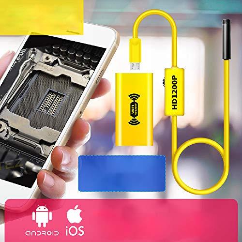 XBAO USB-endoscoopcamera, endoscoop Android wifi, endoscoop iPhone, 8 helderheidsniveaus verstelbaar, 1200 HD-camera, waterdicht, voor het controleren van kanalen, motor van je auto of motorfiets