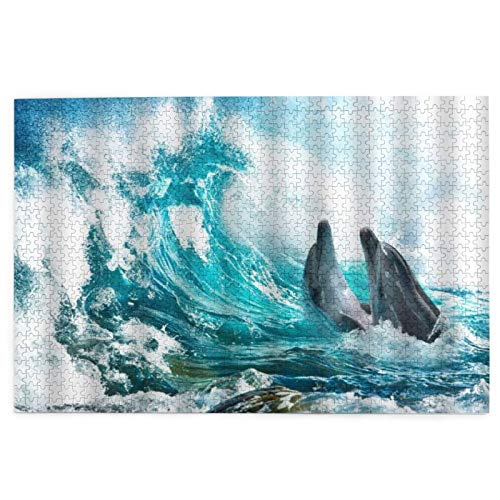 Puzzle da 1000 Pezzi,Blue Sea View Onde enormi Oceano Animale Pesci Tropicali Giocoso Surf Estate Soleggiata Hawaii Tema Naturale Esotico,Family Large Puzzle Game Opera d'Arte per Adulti,Ragazzi