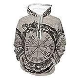 Ouroboros - Sudadera con capucha Vegvisir, transpirable, cómoda, con bolsillo de canguro bifurcado para hombres y mujeres, color blanco 4XL