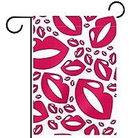 ガーデンサイン庭の装飾屋外バナー垂直旗ピンクの唇オールシーズンダブルレイヤー