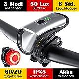 Fahrradlicht LED Set, Fahrradbeleuchtung mit Sensor 50 Lux 2 Leuchtstärke, Fahrradlichter USB Aufladbar, MTB Fahrrad Licht Akku Vorne Hinten Frontlicht Rücklicht, Fahrradlampe IPX5 StVZO Zugelassen