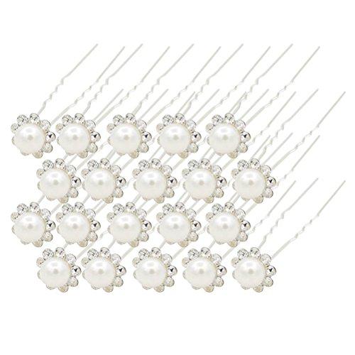 Pixnor mariée épingles en U pour femme Lot de 20 pinces à cheveux perle strass Décoration (Argent)