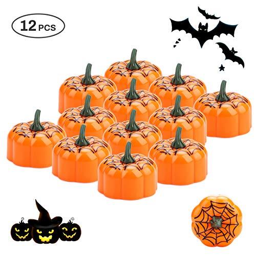 E-More 12Pcs Candelitas de calabaza naranja, Calabaza de Halloween Luces de té LED Velas Lámparas de vela de tela de araña electrónica sin llama Decoración para barra de hogar Halloween